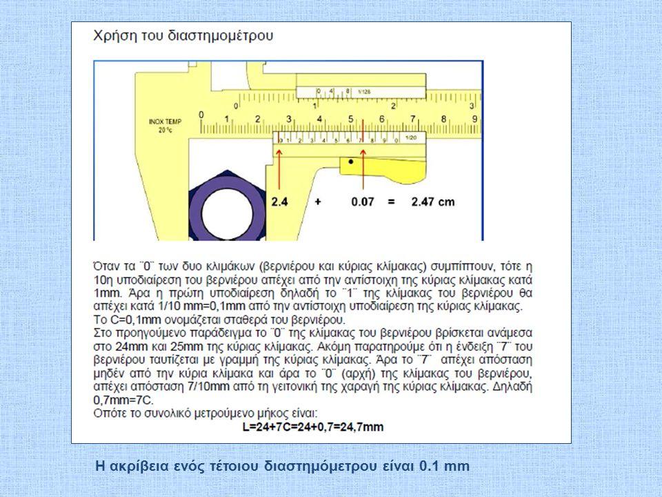 Η ακρίβεια ενός τέτοιου διαστημόμετρου είναι 0.1 mm
