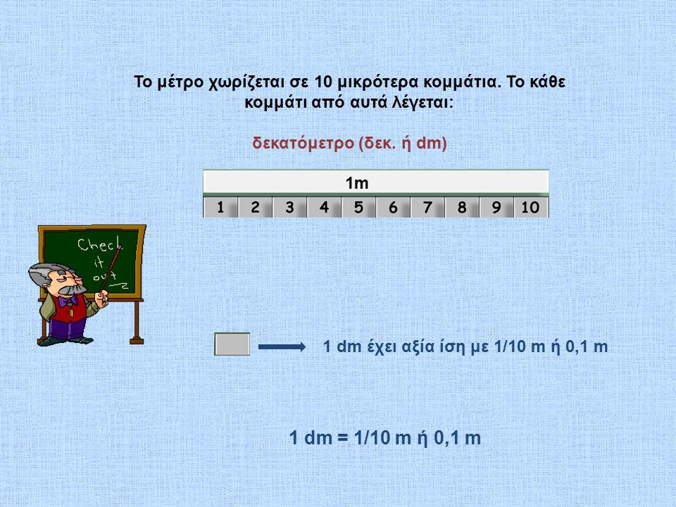 Το μέτρο χωρίζεται σε 10 μικρότερα κομμάτια.Το κάθε κομμάτι από αυτά λέγεται: δεκατόμετρο (δεκ.