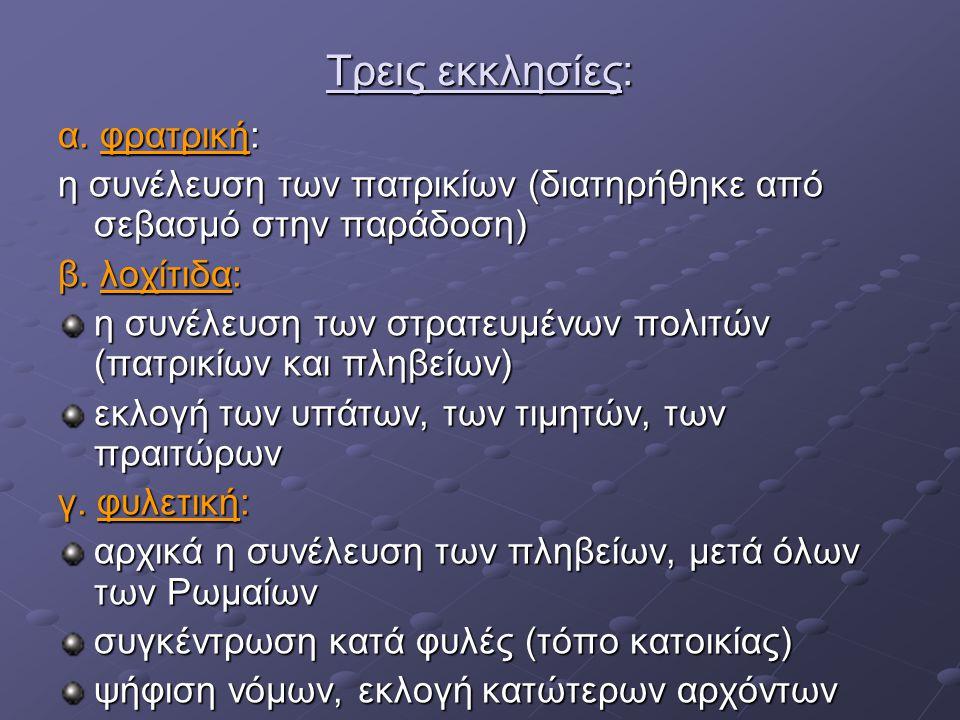 Τρεις εκκλησίες: α. φρατρική: η συνέλευση των πατρικίων (διατηρήθηκε από σεβασμό στην παράδοση) β. λοχίτιδα: η συνέλευση των στρατευμένων πολιτών (πατ