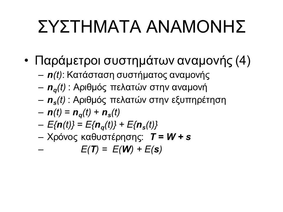 ΣΥΣΤΗΜΑΤΑ ΑΝΑΜΟΝΗΣ Τύπος Little Χρόνος καθυστέρησης Τ = W + s Ε(Τ) = Ε(n)/γ (Τύπος Little) Ε(Τ) = E{n(t)}/γ = E(W) + E(s) = = E{n q (t)}/γ + E{n s (t)}/γ (Τύπος Little)