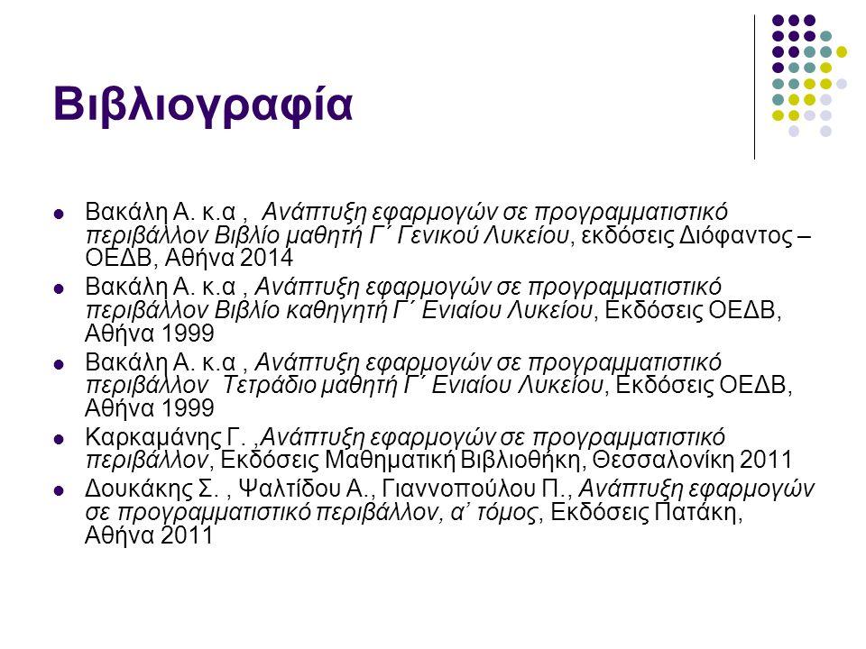 Βιβλιογραφία Βακάλη Α. κ.α, Ανάπτυξη εφαρμογών σε προγραμματιστικό περιβάλλον Βιβλίο μαθητή Γ΄ Γενικού Λυκείου, εκδόσεις Διόφαντος – ΟΕΔΒ, Αθήνα 2014