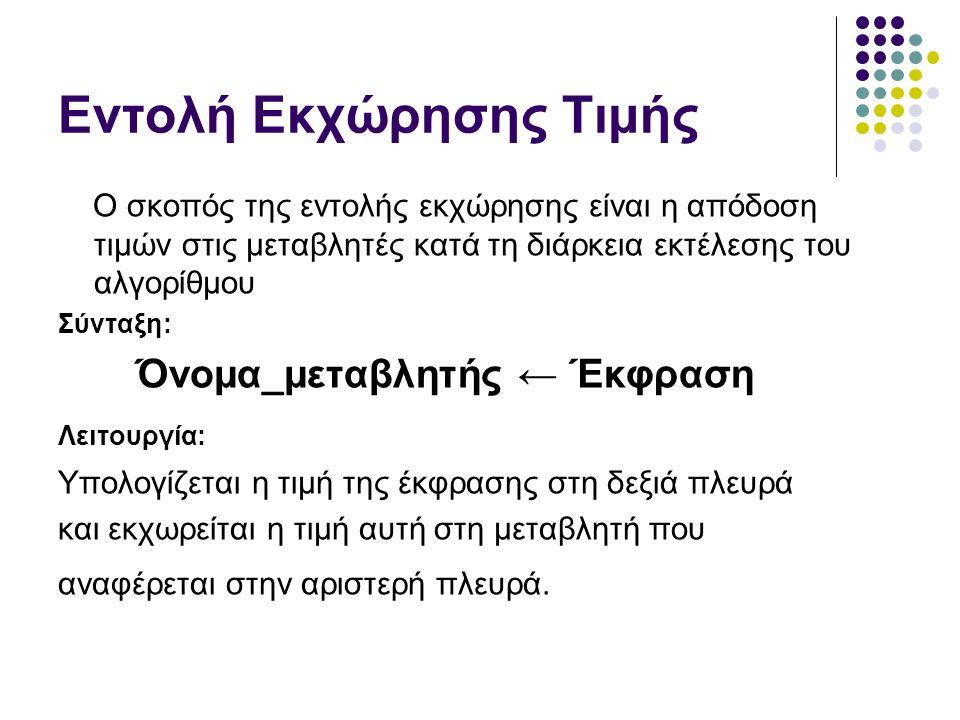 Όνομα_μεταβλητής ← Έκφραση Τι μπορεί να είναι η έκφραση: αριθμός (ακέραιος/πραγματικός) Χ ← 10 Υ ← 3.4 μεταβλητή Υ ← Χ αλφαριθμητική τιμή Α ← ¨Μικροδιδασκαλία¨