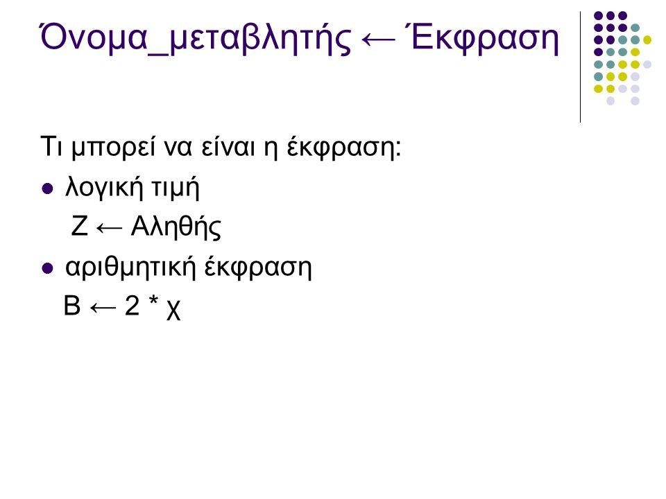 Όνομα_μεταβλητής ← Έκφραση Τι μπορεί να είναι η έκφραση: λογική τιμή Ζ ← Αληθής αριθμητική έκφραση Β ← 2 * χ