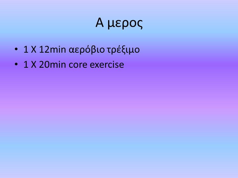 Α μερος 1 Χ 12min αερόβιο τρέξιμο 1 Χ 20min core exercise