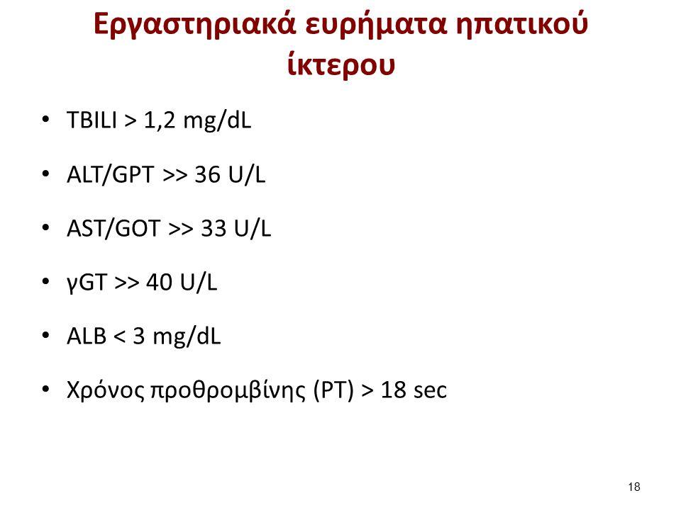 Εργαστηριακά ευρήματα ηπατικού ίκτερου TBILI > 1,2 mg/dL ALT/GPT >> 36 U/L AST/GOT >> 33 U/L γGT >> 40 U/L ALB < 3 mg/dL Xρόνος προθρομβίνης (PT) > 18