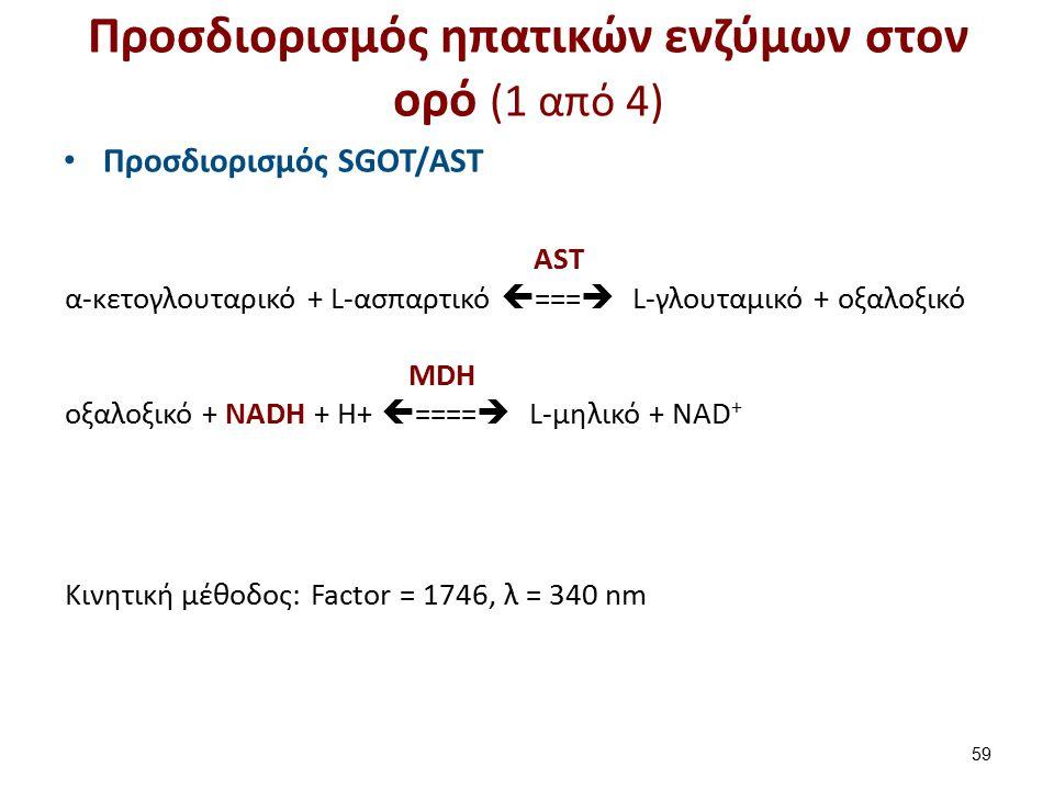 AST α-κετογλουταρικό + L-ασπαρτικό  ===  L-γλουταμικό + οξαλοξικό MDH οξαλοξικό + NADH + H+  ====  L-μηλικό + NAD + Κινητική μέθοδος: Factor = 174