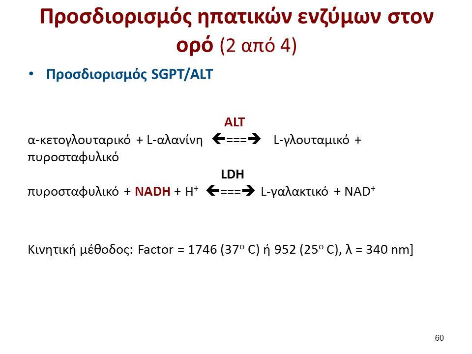 ALT α-κετογλουταρικό + L-αλανίνη  ===  L-γλουταμικό + πυροσταφυλικό LDH πυροσταφυλικό + NADH + H +  ===  L-γαλακτικό + NAD + Κινητική μέθοδος: Fac