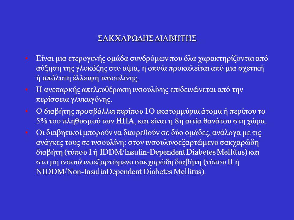 Διαβήτης τύπου Ι (ιvσουλιvοεξαρτώμεvος, IDDM) Προσβάλλει πιο συχνά νεαρά άτομα, αλλά μπορεί να εμφανιστεί και σε ενήλικες.