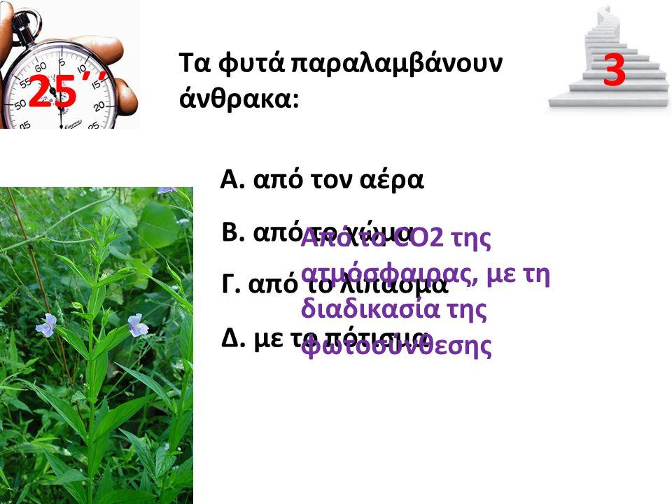 Τα φυτά παραλαμβάνουν άνθρακα: Α. από τον αέρα Β. από το χώμα Γ. από το λίπασμα Δ. με το πότισμα 25΄΄ 3 Από το CO2 της ατμόσφαιρας, με τη διαδικασία τ