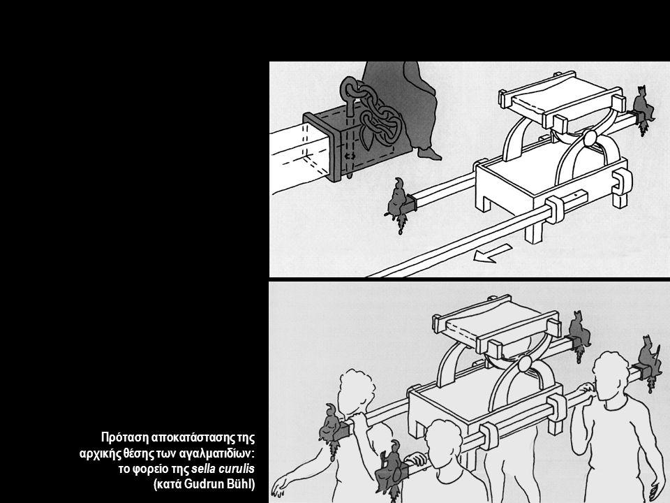 Πρόταση αποκατάστασης της αρχικής θέσης των αγαλματιδίων: το φορείο της sella curulis (κατά Gudrun Bühl)