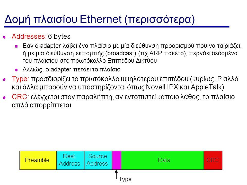 MAC Layer- 3 Δομή πλαισίου Ethernet (περισσότερα) Addresses: 6 bytes Εάν ο adapter λάβει ένα πλαίσιο με μία διεύθυνση προορισμού που να ταιριάζει, ή με μια διεύθυνση εκπομπής (broadcast) (πχ ARP πακέτο), περνάει δεδομένα του πλαισίου στο πρωτόκολλο Επιπέδου Δικτύου Αλλιώς, ο adapter πετάει το πλαίσιο Type: προσδιορίζει το πρωτόκολλο υψηλότερου επιπέδου (κυρίως IP αλλά και άλλα μπορούν να υποστηρίζονται όπως Novell IPX και AppleTalk) CRC: ελέγχεται στον παραλήπτη, αν εντοπιστεί κάποιο λάθος, το πλαίσιο απλά απορρίπτεται