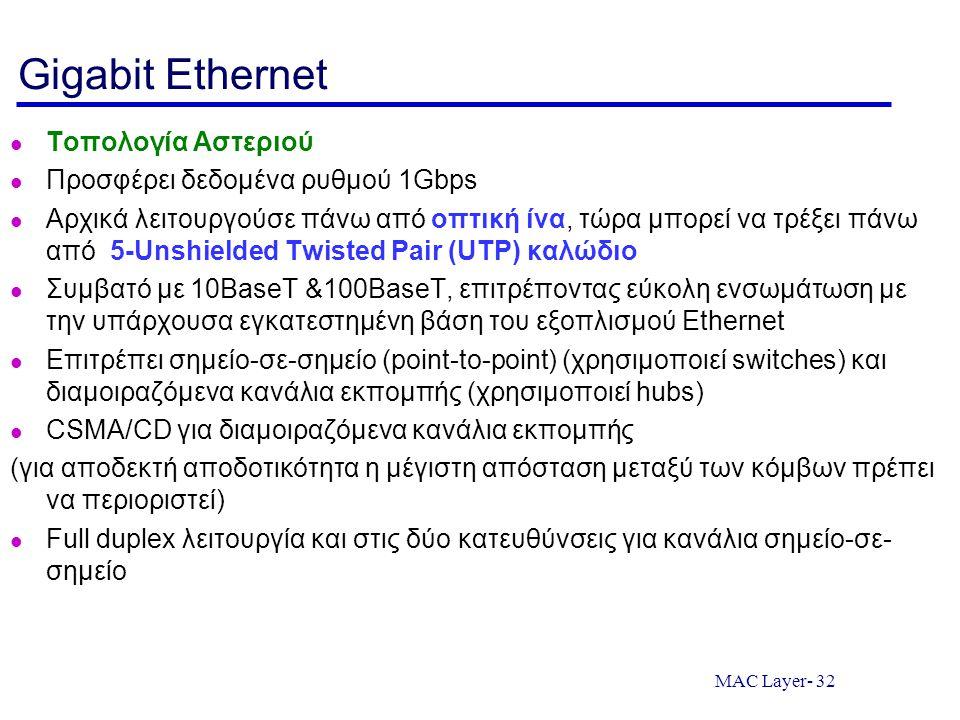MAC Layer- 32 Gigabit Ethernet Τοπολογία Αστεριού Προσφέρει δεδομένα ρυθμού 1Gbps Αρχικά λειτουργούσε πάνω από οπτική ίνα, τώρα μπορεί να τρέξει πάνω από 5-Unshielded Twisted Pair (UTP) καλώδιο Συμβατό με 10BaseT &100BaseT, επιτρέποντας εύκολη ενσωμάτωση με την υπάρχουσα εγκατεστημένη βάση του εξοπλισμού Ethernet Επιτρέπει σημείο-σε-σημείο (point-to-point) (χρησιμοποιεί switches) και διαμοιραζόμενα κανάλια εκπομπής (χρησιμοποιεί hubs) CSMA/CD για διαμοιραζόμενα κανάλια εκπομπής (για αποδεκτή αποδοτικότητα η μέγιστη απόσταση μεταξύ των κόμβων πρέπει να περιοριστεί) Full duplex λειτουργία και στις δύο κατευθύνσεις για κανάλια σημείο-σε- σημείο
