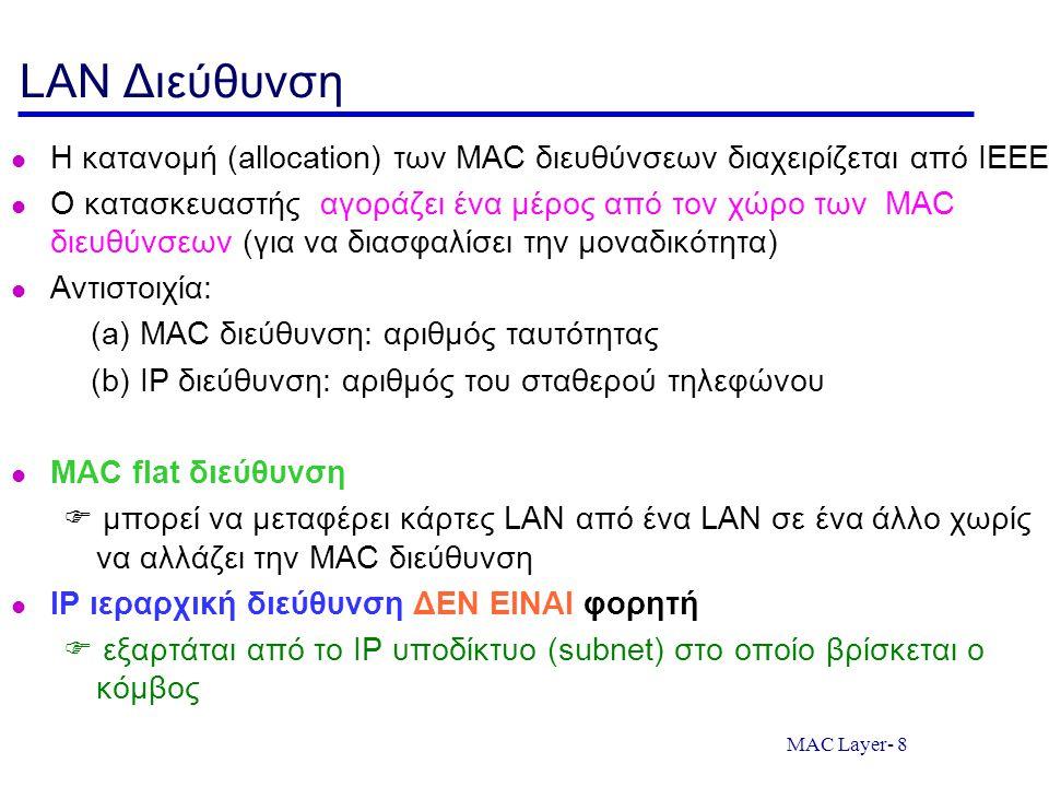 MAC Layer- 8 LAN Διεύθυνση Η κατανομή (allocation) των MAC διευθύνσεων διαχειρίζεται από IEEE Ο κατασκευαστής αγοράζει ένα μέρος από τον χώρο των MAC διευθύνσεων (για να διασφαλίσει την μοναδικότητα) Αντιστοιχία: (a) MAC διεύθυνση: αριθμός ταυτότητας (b) IP διεύθυνση: αριθμός του σταθερού τηλεφώνου MAC flat διεύθυνση  μπορεί να μεταφέρει κάρτες LAN από ένα LAN σε ένα άλλο χωρίς να αλλάζει την MAC διεύθυνση IP ιεραρχική διεύθυνση ΔΕΝ ΕΙΝΑΙ φορητή  εξαρτάται από το IP υποδίκτυο (subnet) στο οποίο βρίσκεται ο κόμβος