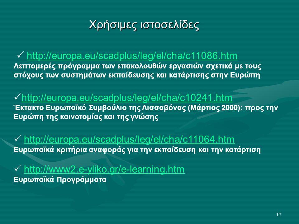 17 Χρήσιμες ιστοσελίδες  http://europa.eu/scadplus/leg/el/cha/c11086.htmhttp://europa.eu/scadplus/leg/el/cha/c11086.htm Λεπτομερές πρόγραμμα των επακολουθών εργασιών σχετικά με τους στόχους των συστημάτων εκπαίδευσης και κατάρτισης στην Ευρώπη  http://europa.eu/scadplus/leg/el/cha/c10241.htm http://europa.eu/scadplus/leg/el/cha/c10241.htm Έκτακτο Ευρωπαϊκό Συμβούλιο της Λισσαβόνας (Μάρτιος 2000): προς την Ευρώπη της καινοτομίας και της γνώσης  http://europa.eu/scadplus/leg/el/cha/c11064.htmhttp://europa.eu/scadplus/leg/el/cha/c11064.htm Ευρωπαϊκά κριτήρια αναφοράς για την εκπαίδευση και την κατάρτιση  http://www2.e-yliko.gr/e-learning.htmhttp://www2.e-yliko.gr/e-learning.htm Ευρωπαϊκά Προγράμματα