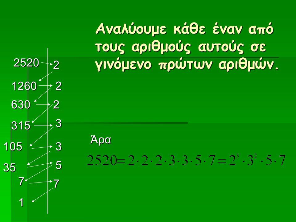 Αναλύουμε κάθε έναν από τους αριθμούς αυτούς σε γινόμενο πρώτων αριθμών. 2520 2 2 2 3 5 1260 630 315 35 1053 7 Άρα 7 1