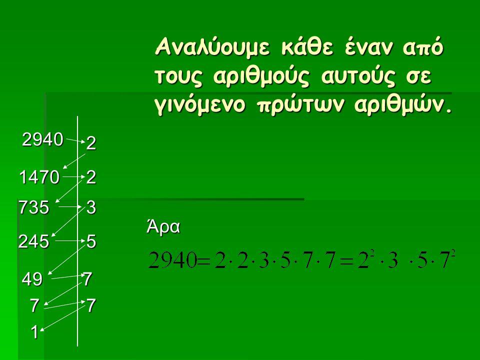 2940 2 2 3 5 7 1470 735 245 49 77 1 Άρα