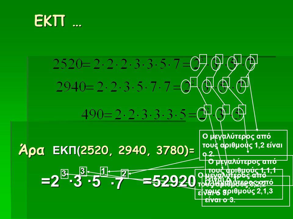 ΕΚΠ … Άρα ΕΚΠ( 2520, 2940, 3780)= =2 3 Ο μεγαλύτερος από τους αριθμούς 3,2,2 είναι ο 3. ·3·3·3·3 3 Ο μεγαλύτερος από τους αριθμούς 2,1,3 είναι ο 3. ·5
