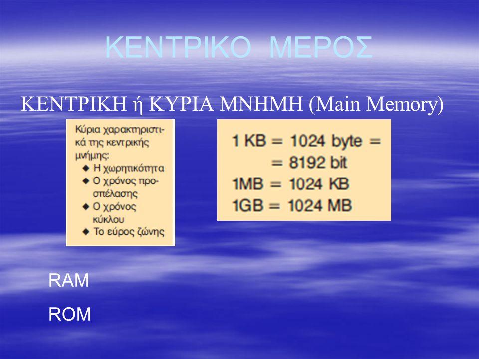 ΚΕΝΤΡΙΚΟ ΜΕΡΟΣ ΜΟΝΑΔΑ ΕΙΣΟΔΟΥ-ΕΞΟΔΟΥ (Input / Output Unit - I/O) Μεταφέρει δεδομένα.