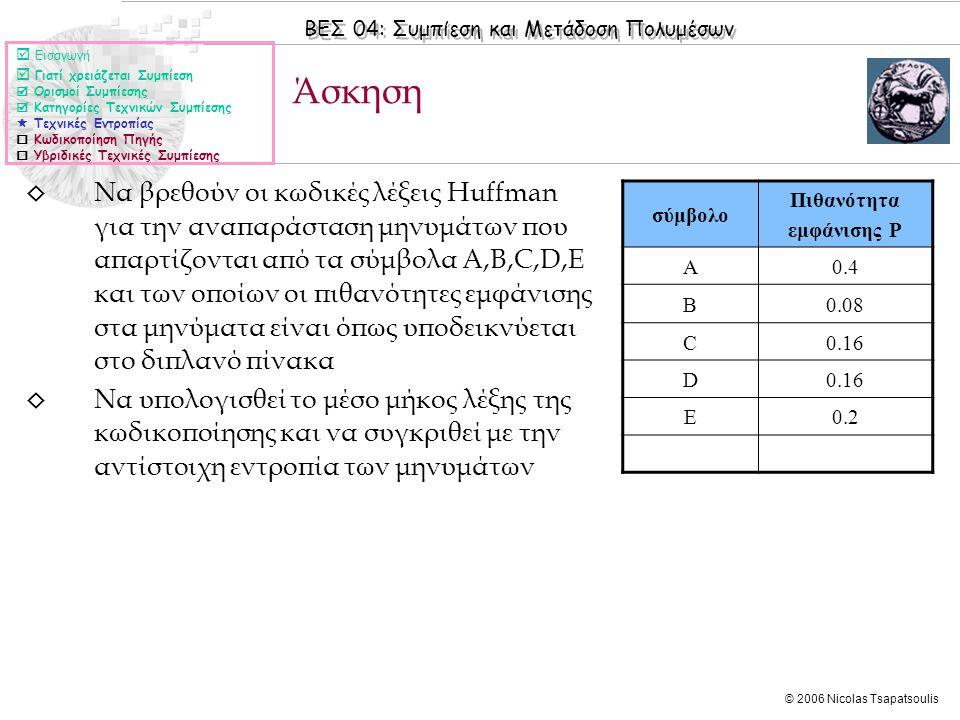 ΒΕΣ 04: Συμπίεση και Μετάδοση Πολυμέσων © 2006 Nicolas Tsapatsoulis ◊ Να βρεθούν οι κωδικές λέξεις Huffman για την αναπαράσταση μηνυμάτων που απαρτίζονται από τα σύμβολα A,B,C,D,E και των οποίων οι πιθανότητες εμφάνισης στα μηνύματα είναι όπως υποδεικνύεται στο διπλανό πίνακα ◊ Να υπολογισθεί το μέσο μήκος λέξης της κωδικοποίησης και να συγκριθεί με την αντίστοιχη εντροπία των μηνυμάτων Άσκηση  Εισαγωγή  Γιατί χρειάζεται Συμπίεση  Ορισμοί Συμπίεσης  Κατηγορίες Τεχνικών Συμπίεσης  Τεχνικές Εντροπίας  Κωδικοποίηση Πηγής  Υβριδικές Τεχνικές Συμπίεσης σύμβολο Πιθανότητα εμφάνισης P A0.4 Β0.08 C0.16 D E0.2