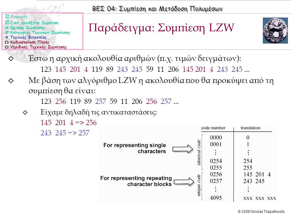 ΒΕΣ 04: Συμπίεση και Μετάδοση Πολυμέσων © 2006 Nicolas Tsapatsoulis ◊ Έστω η αρχική ακολουθία αριθμών (π.χ.