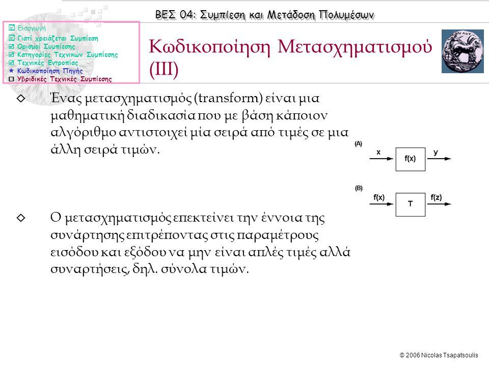 ΒΕΣ 04: Συμπίεση και Μετάδοση Πολυμέσων © 2006 Nicolas Tsapatsoulis ◊ Ένας μετασχηματισμός (transform) είναι μια μαθηματική διαδικασία που με βάση κάποιον αλγόριθμο αντιστοιχεί μία σειρά από τιμές σε μια άλλη σειρά τιμών.