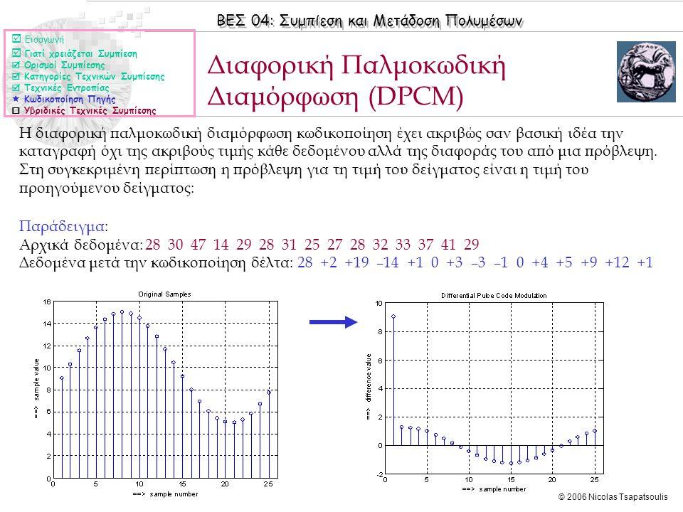 ΒΕΣ 04: Συμπίεση και Μετάδοση Πολυμέσων © 2006 Nicolas Tsapatsoulis Διαφορική Παλμοκωδική Διαμόρφωση (DPCM)  Εισαγωγή  Γιατί χρειάζεται Συμπίεση  Ορισμοί Συμπίεσης  Κατηγορίες Τεχνικών Συμπίεσης  Τεχνικές Εντροπίας  Κωδικοποίηση Πηγής  Υβριδικές Τεχνικές Συμπίεσης Η διαφορική παλμοκωδική διαμόρφωση κωδικοποίηση έχει ακριβώς σαν βασική ιδέα την καταγραφή όχι της ακριβούς τιμής κάθε δεδομένου αλλά της διαφοράς του από μια πρόβλεψη.