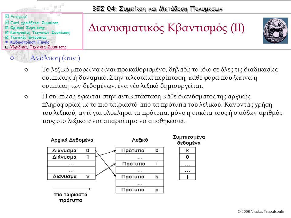 ΒΕΣ 04: Συμπίεση και Μετάδοση Πολυμέσων © 2006 Nicolas Tsapatsoulis ◊ Ανάλυση (συν.) ◊ Το λεξικό μπορεί να είναι προκαθορισμένο, δηλαδή το ίδιο σε όλες τις διαδικασίες συμπίεσης ή δυναμικό.