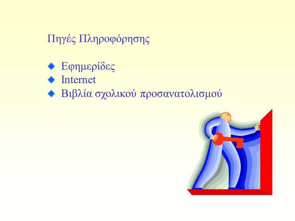 Πηγές Πληροφόρησης Εφημερίδες Internet Βιβλία σχολικού προσανατολισμού
