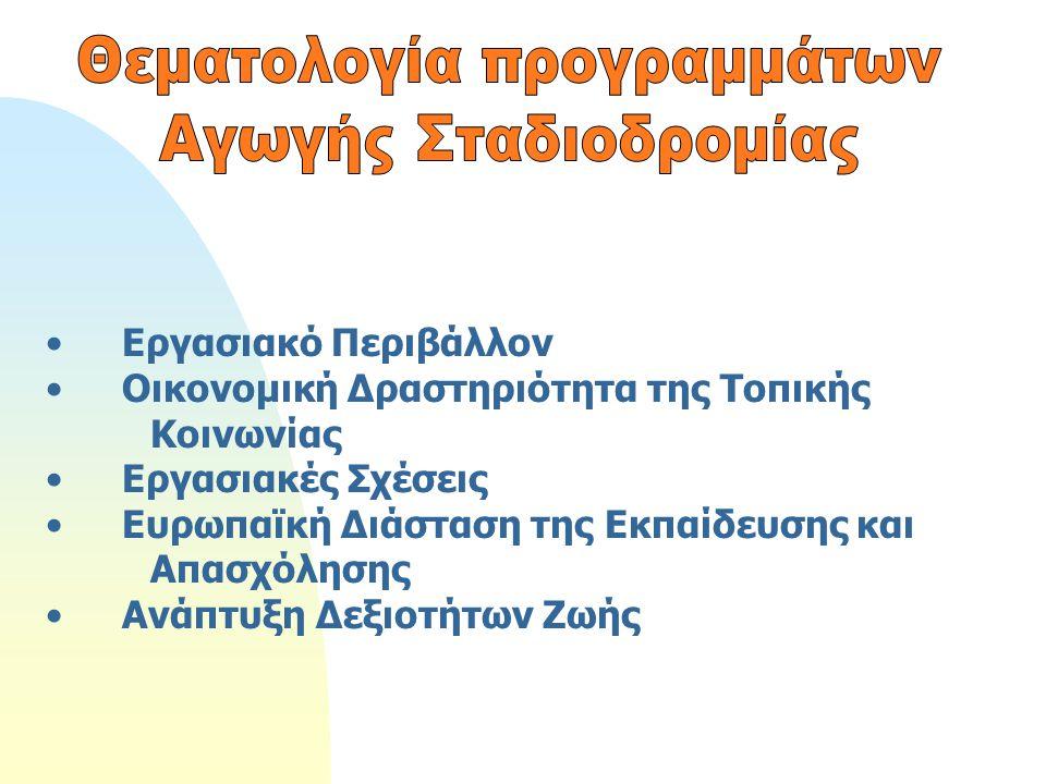 Εργασιακό Περιβάλλον Οικονομική Δραστηριότητα της Τοπικής Κοινωνίας Εργασιακές Σχέσεις Ευρωπαϊκή Διάσταση της Εκπαίδευσης και Απασχόλησης Ανάπτυξη Δεξ