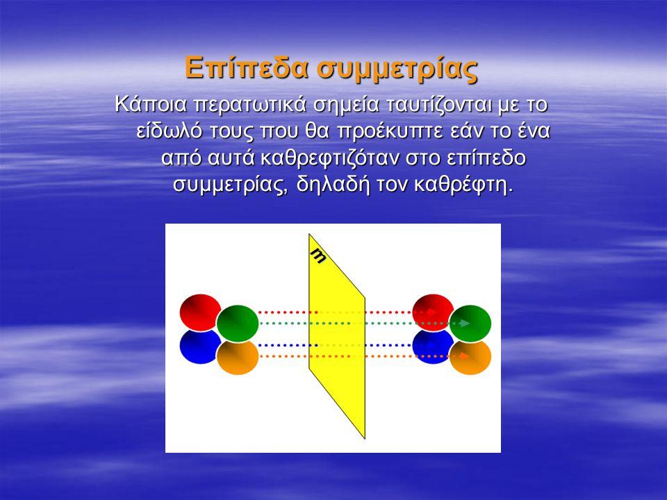 Άξονες συμμετρίας Νοητές ευθείες γραμμές που εάν περιστρέψουμε γύρω τους ένα περατωτικό στοιχείο ενός κρυστάλλου και πριν συμπληρώσουμε μια πλήρη περιστροφή, ή όταν συμπληρώσουμε ακριβώς μια πλήρη περιστροφή,θα δούμε αυτό το περατωτικό στοιχείο να ταυτίζεται τουλάχιστον μια ακόμη φορά επακριβώς με άλλο περατωτικό στοιχείο του κρυστάλλου ή τουλάχιστον τον εαυτό του.