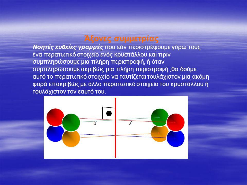 Κέντρο συμμετρίας Είναι ένα σημείο που εάν κινηθούμε πάνω σε μια ευθεία που περνά από το σημείο αυτό θα συναντήσουμε σε ίσες αποστάσεις ίδια περατωτικά σημεία του κρυστάλλου.