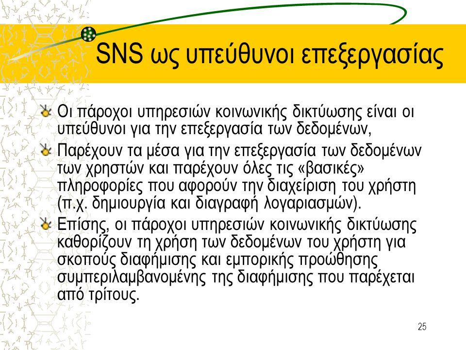 25 SNS ως υπεύθυνοι επεξεργασίας Οι πάροχοι υπηρεσιών κοινωνικής δικτύωσης είναι οι υπεύθυνοι για την επεξεργασία των δεδομένων, Παρέχουν τα μέσα για την επεξεργασία των δεδομένων των χρηστών και παρέχουν όλες τις «βασικές» πληροφορίες που αφορούν την διαχείριση του χρήστη (π.χ.