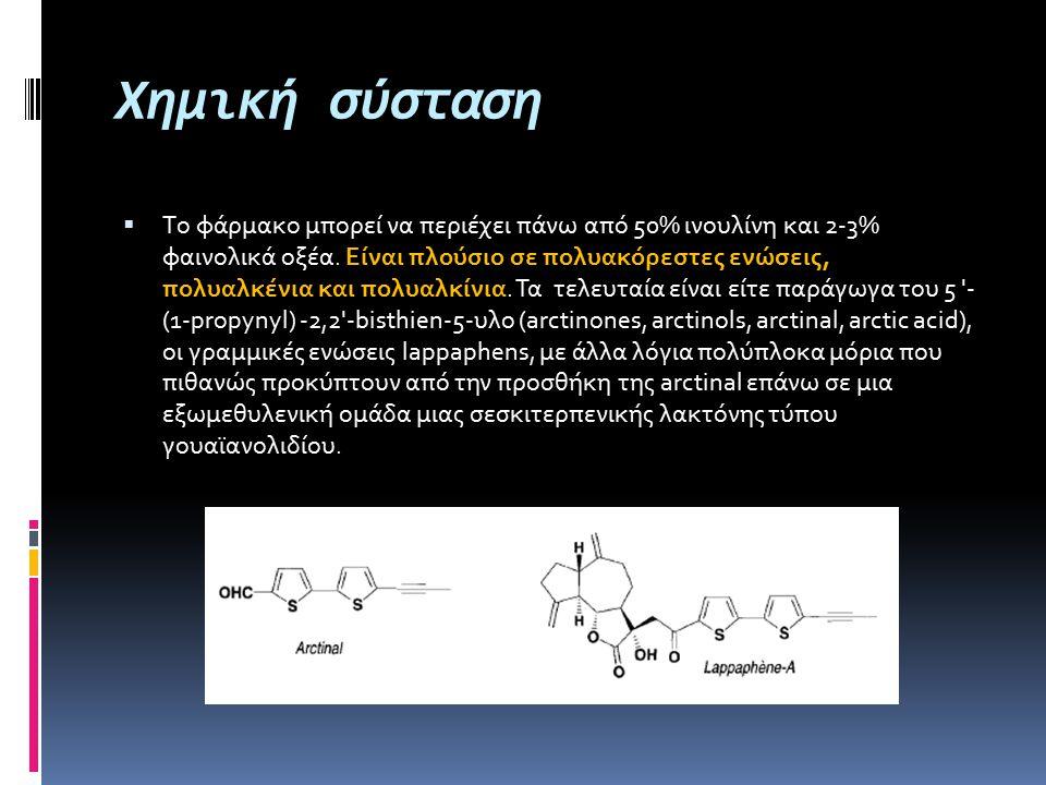 Χημική σύσταση  Tο φάρμακο μπορεί να περιέχει πάνω από 50% ινουλίνη και 2-3% φαινολικά οξέα. Είναι πλούσιο σε πολυακόρεστες ενώσεις, πολυαλκένια και