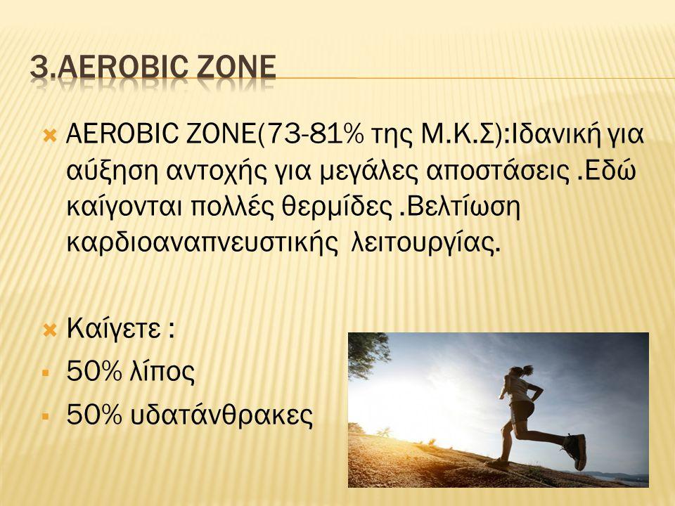  AEROBIC ZONE(73-81% της Μ.Κ.Σ):Ιδανική για αύξηση αντοχής για μεγάλες αποστάσεις.Εδώ καίγονται πολλές θερμίδες.Βελτίωση καρδιοαναπνευστικής λειτουργίας.