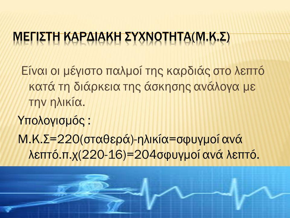 Είναι οι μέγιστο παλμοί της καρδιάς στο λεπτό κατά τη διάρκεια της άσκησης ανάλογα με την ηλικία.