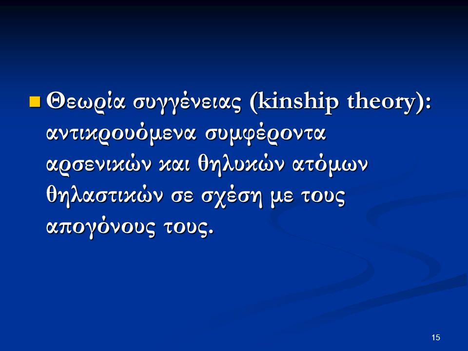 15 Θεωρία συγγένειας (kinship theory): αντικρουόμενα συμφέροντα αρσενικών και θηλυκών ατόμων θηλαστικών σε σχέση με τους απογόνους τους. Θεωρία συγγέν