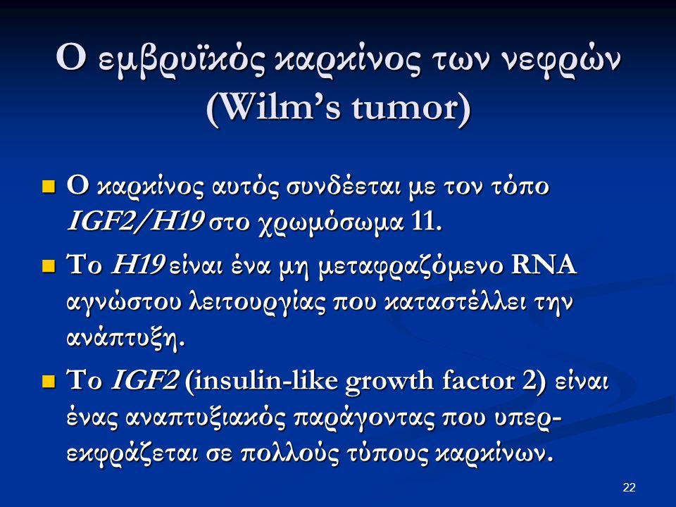 Ο εμβρυϊκός καρκίνος των νεφρών (Wilm's tumor) O καρκίνος αυτός συνδέεται με τον τόπο IGF2/H19 στο χρωμόσωμα 11. O καρκίνος αυτός συνδέεται με τον τόπ