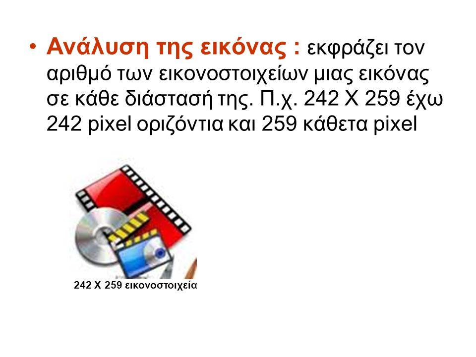 Ανάλυση της εικόνας : εκφράζει τον αριθμό των εικονοστοιχείων μιας εικόνας σε κάθε διάστασή της. Π.χ. 242 Χ 259 έχω 242 pixel οριζόντια και 259 κάθετα