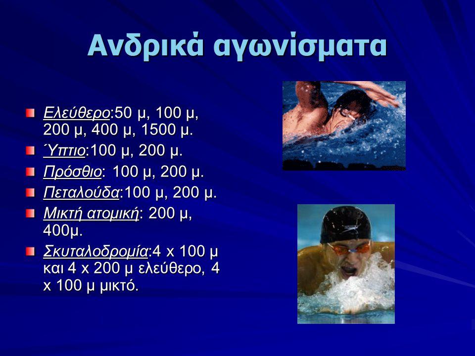 Ανδρικά αγωνίσματα Ελεύθερο:50 μ, 100 μ, 200 μ, 400 μ, 1500 μ. Ύπτιο:100 μ, 200 μ. Πρόσθιο: 100 μ, 200 μ. Πεταλούδα:100 μ, 200 μ. Μικτή ατομική: 200 μ