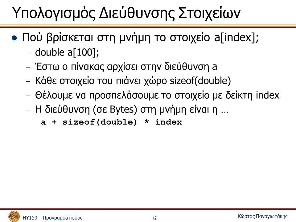 ΗΥ150 – Προγραμματισμός Κώστας Παναγιωτάκης 12 Υπολογισμός Διεύθυνσης Στοιχείων Πού βρίσκεται στη μνήμη το στοιχείο a[index]; – double a[100]; – Έστω ο πίνακας αρχίσει στην διεύθυνση a – Κάθε στοιχείο του πιάνει χώρο sizeof(double) – Θέλουμε να προσπελάσουμε το στοιχείο με δείκτη index – H διεύθυνση (σε Bytes) στη μνήμη είναι η … a + sizeof(double) * index