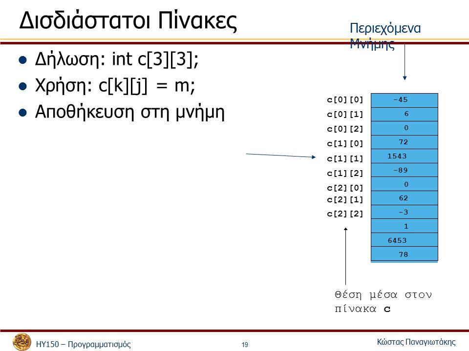 ΗΥ150 – Προγραμματισμός Κώστας Παναγιωτάκης 19 Δισδιάστατοι Πίνακες Δήλωση: int c[3][3]; Χρήση: c[k][j] = m; Αποθήκευση στη μνήμη Θέση μέσα στον πίνακα c -45 6 0 72 1543 -89 0 62 -3 1 6453 78 c[0][0] c[1][2] c[2][1] c[0][2] c[0][1] c[1][0] c[1][1] c[2][0] c[2][2] Περιεχόμενα Μνήμης