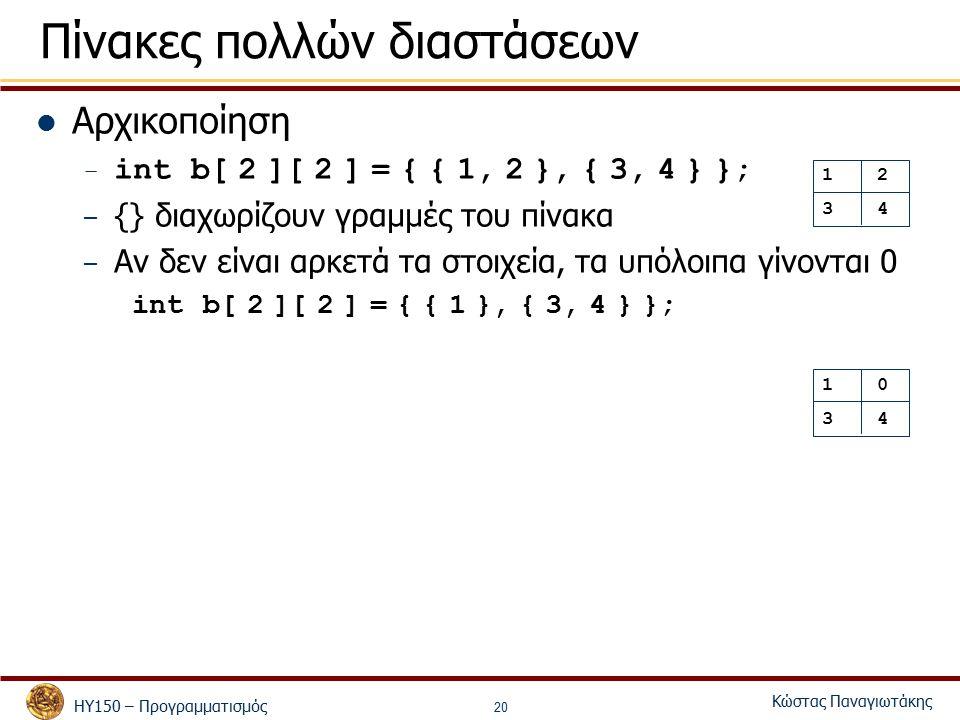 ΗΥ150 – Προγραμματισμός Κώστας Παναγιωτάκης 20 Πίνακες πολλών διαστάσεων Αρχικοποίηση – int b[ 2 ][ 2 ] = { { 1, 2 }, { 3, 4 } }; – {} διαχωρίζουν γραμμές του πίνακα – Αν δεν είναι αρκετά τα στοιχεία, τα υπόλοιπα γίνονται 0 int b[ 2 ][ 2 ] = { { 1 }, { 3, 4 } }; 1 2 3 4 1 0 3 4