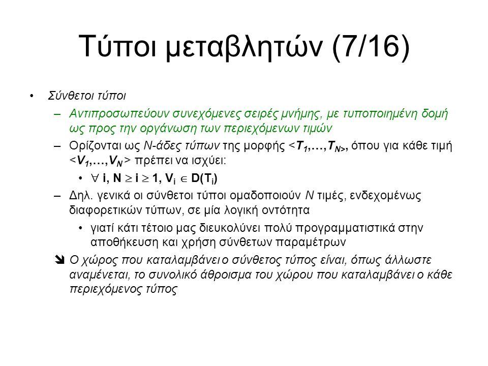 Τύποι μεταβλητών (7/16) Σύνθετοι τύποι –Αντιπροσωπεύουν συνεχόμενες σειρές μνήμης, με τυποποιημένη δομή ως προς την οργάνωση των περιεχόμενων τιμών –Ορίζονται ως Ν-άδες τύπων της μορφής, όπου για κάθε τιμή πρέπει να ισχύει:  i, N  i  1, V i  D(Τ i ) –Δηλ.