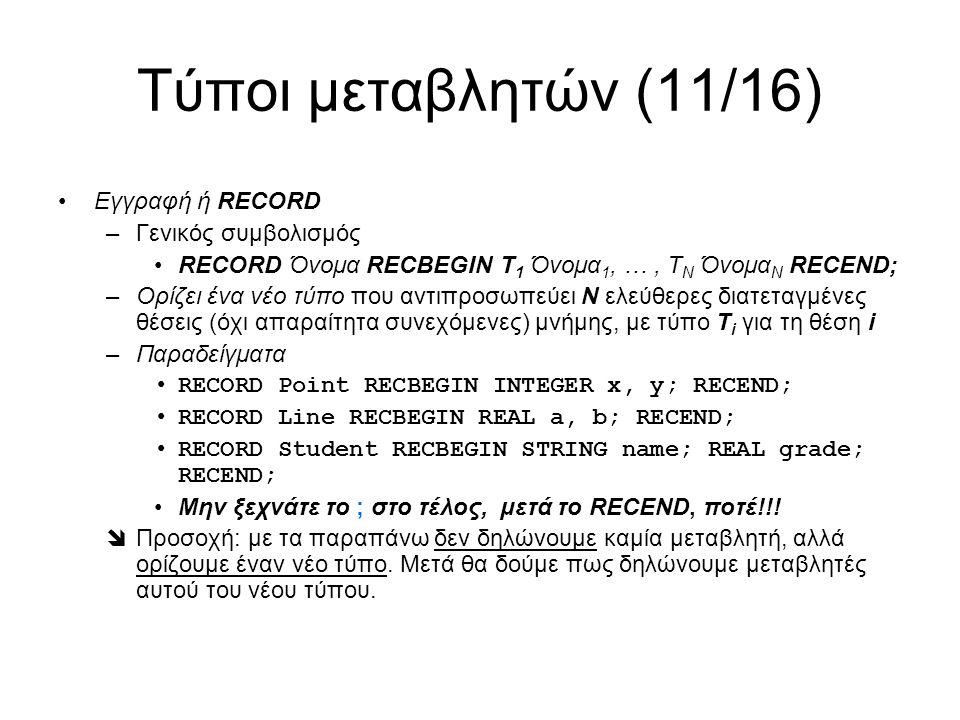 Τύποι μεταβλητών (11/16) Εγγραφή ή RECORD –Γενικός συμβολισμός RECORD Όνομα RECBEGIN Τ 1 Όνομα 1, …, Τ Ν Όνομα Ν RECEND; –Ορίζει ένα νέο τύπο που αντιπροσωπεύει Ν ελεύθερες διατεταγμένες θέσεις (όχι απαραίτητα συνεχόμενες) μνήμης, με τύπο Τ i για τη θέση i –Παραδείγματα RECORD Point RECBEGIN INTEGER x, y; RECEND; RECORD Line RECBEGIN REAL a, b; RECEND; RECORD Student RECBEGIN STRING name; REAL grade; RECEND; Μην ξεχνάτε το ; στο τέλος, μετά το RECEND, ποτέ!!.