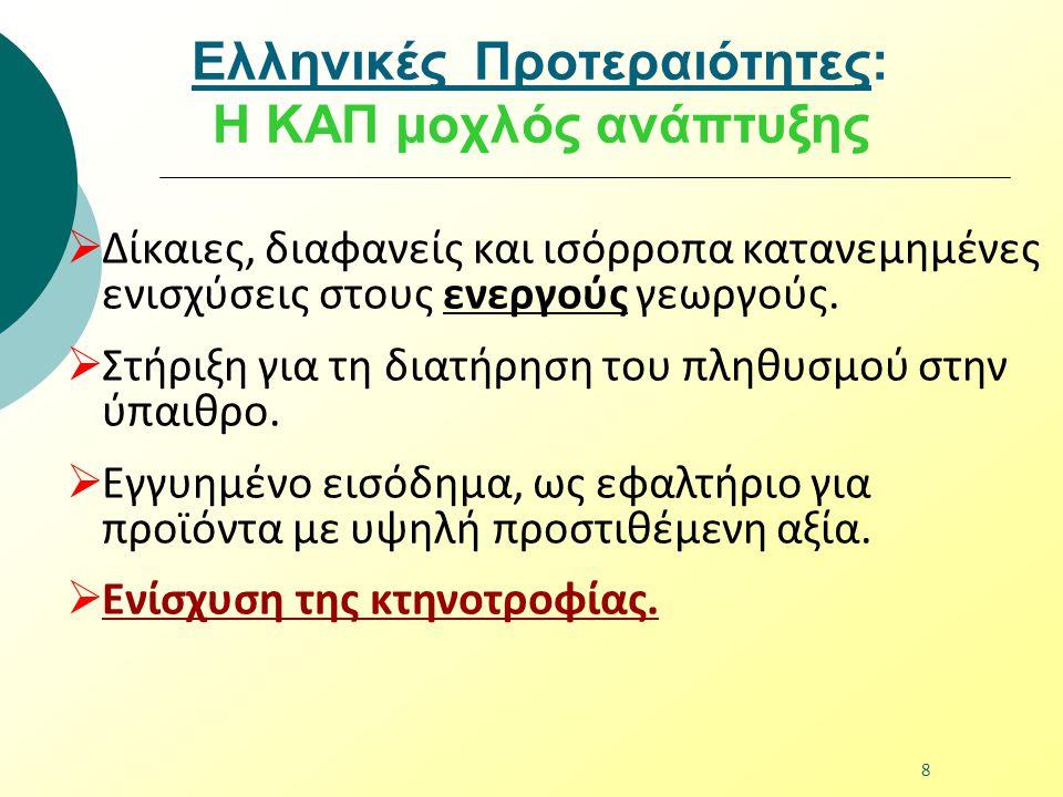 Ελληνικές Προτεραιότητες: Η ΚΑΠ μοχλός ανάπτυξης  Δίκαιες, διαφανείς και ισόρροπα κατανεμημένες ενισχύσεις στους ενεργούς γεωργούς.  Στήριξη για τη