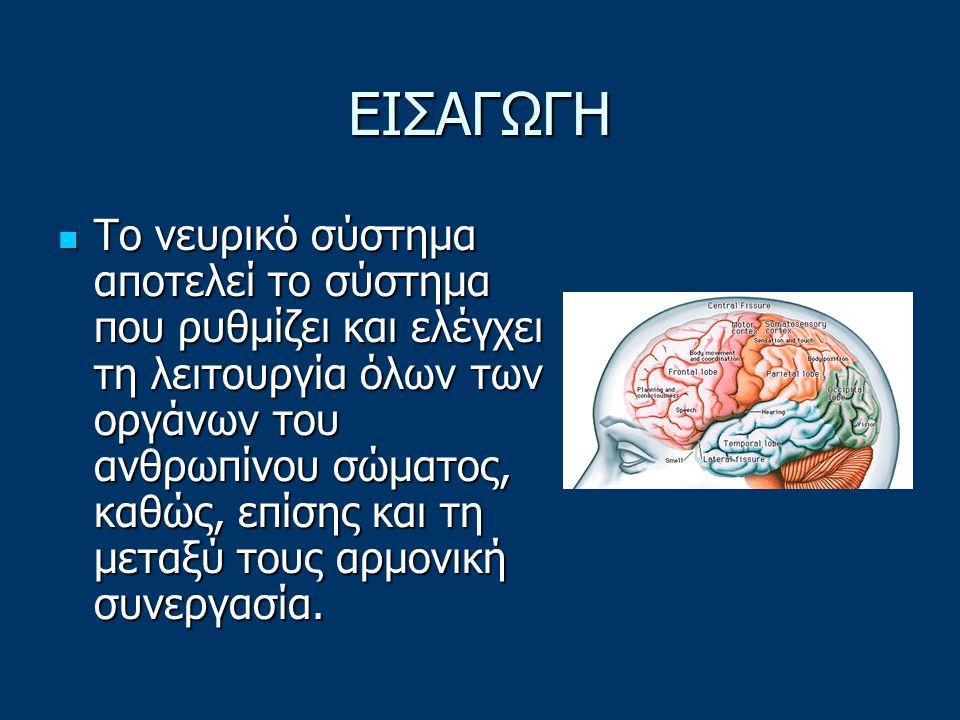 ΕΙΣΑΓΩΓΗ Το νευρικό σύστημα αποτελεί το σύστημα που ρυθμίζει και ελέγχει τη λειτουργία όλων των οργάνων του ανθρωπίνου σώματος, καθώς, επίσης και τη μεταξύ τους αρμονική συνεργασία.