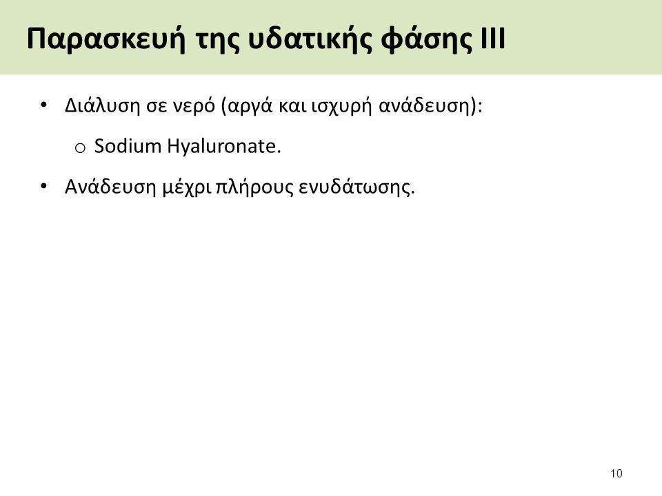 Παρασκευή της υδατικής φάσης ΙΙΙ Διάλυση σε νερό (αργά και ισχυρή ανάδευση): o Sodium Hyaluronate.