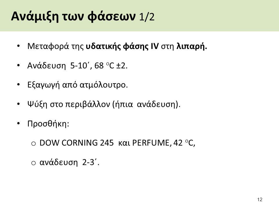 Ανάμιξη των φάσεων 1/2 Μεταφορά της υδατικής φάσης IV στη λιπαρή. Ανάδευση 5-10΄, 68 ο C ±2. Εξαγωγή από ατμόλουτρο. Ψύξη στο περιβάλλον (ήπια ανάδευσ