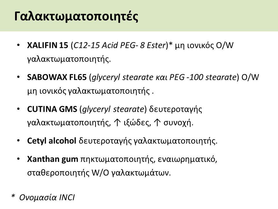 Γαλακτωματοποιητές XALIFIN 15 (C12-15 Acid PEG- 8 Ester)* μη ιονικός O/W γαλακτωματοποιητής. SABOWAX FL65 (glyceryl stearate και PEG -100 stearate) O/