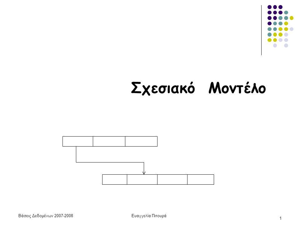 Βάσεις Δεδομένων 2007-2008Ευαγγελία Πιτουρά 1 Σχεσιακό Μοντέλο